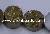 CAG7933 7.5 inches 16mm flat round plated white druzy agate beads