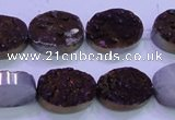 CAG8175 7.5 inches 13*18mm oval purple plated druzy agate beads