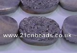 CAG8202 7.5 inches 20*30mm oval silver plated druzy agate beads