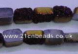 CAG8215 Top drilled 10*14mm rectangle purple plated druzy agate beads