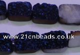 CAG8236 Top drilled 13*18mm rectangle blue plated druzy agate beads
