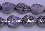 CAG8272 7.5 inches 10*14mm teardrop silver plated druzy agate beads