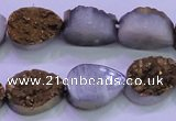 CAG8283 7.5 inches 12*16mm teardrop gold plated druzy agate beads