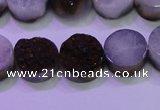 CAG8375 7.5 inches 18mm coin purple plated druzy agate beads
