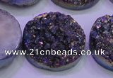CAG8414 7.5 inches 35mm coin rainbow plated druzy agate beads
