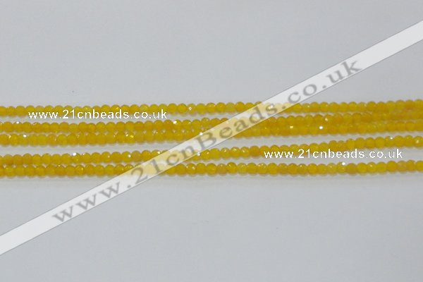 CAG8600 15.5 inches 4mm faceted round yellow agate gemstone beads