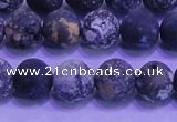 CAG8652 15.5 inches 8mm round matte blue ocean agate beads