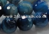 CAG868 15.5 inches 18mm faceted roundagate gemstone beads