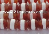 CAG8706 15.5 inches 8mm round matte tibetan agate gemstone beads