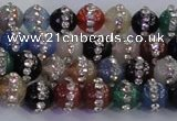 CAG8820 15.5 inches 6mm round agate with rhinestone beads