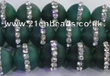 CAG8837 15.5 inches 10mm round matte agate with rhinestone beads