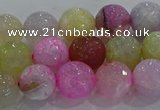 CAG8949 15.5 inches 8mm faceted round fire crackle agate beads