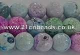 CAG8979 15.5 inches 6mm faceted round fire crackle agate beads