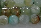 CAG8995 15.5 inches 8mm faceted round fire crackle agate beads
