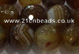 CAG9215 15.5 inches 12mm faceted round line agate gemstone beads