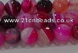 CAG9241 15.5 inches 8mm faceted round line agate beads wholesale