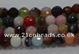 CAG9248 15.5 inches 4mm faceted round line agate beads wholesale