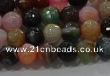 CAG9250 15.5 inches 8mm faceted round line agate beads wholesale