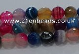 CAG9255 15.5 inches 4mm faceted round line agate beads wholesale