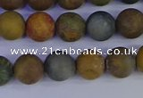 CAG9282 15.5 inches 8mm round matte ocean jasper beads wholesale