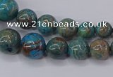 CAG9490 15.5 inches 6mm - 16mm round blue crazy lace agate beads