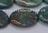 CAG9524 15.5 inches 18*25mm oval blue crazy lace agate beads