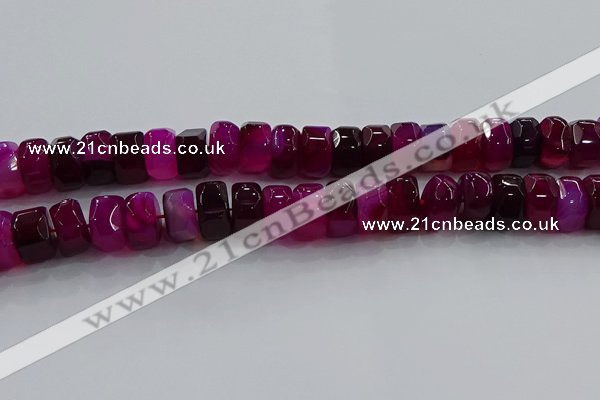 CAG9779 15.5 inches 8*16mm faceted rondelle agate gemstone beads