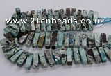 CAG9798 15.5 inches 9*25mm - 10*35mm cuboid ocean agate beads