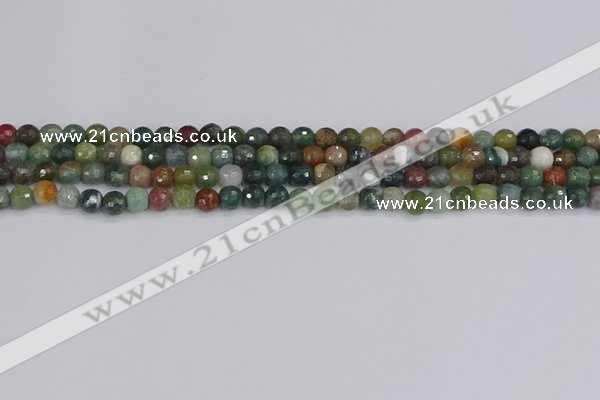 CAG9830 15.5 inches 4mm faceted round Indian agate beads
