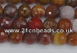 CAG9846 15.5 inches 6mm faceted round red moss agate beads