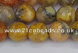 CAG9871 15.5 inches 10mm faceted round yellow crazy lace agate beads