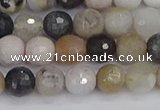 CAG9897 15.5 inches 6mm faceted round parrel dendrite agate beads