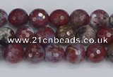 CAG9904 15.5 inches 6mm faceted round red lightning agate beads