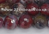 CAG9907 15.5 inches 12mm faceted round red lightning agate beads