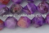 CAG9947 15.5 inches 10mm faceted nuggets purple crazy lace agate beads