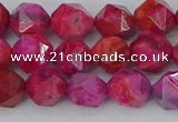 CAG9952 15.5 inches 8mm faceted nuggets fuchsia crazy lace agate beads