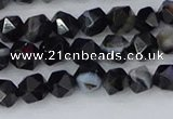 CAG9981 15.5 inches 6mm faceted nuggets black line agate beads