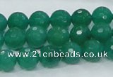 CAJ04 15.5 inches 10mm faceted round green aventurine jade beads