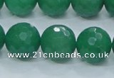 CAJ06 15.5 inches 16mm faceted round green aventurine jade beads