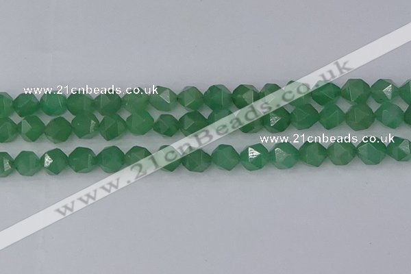 CAJ733 15.5 inches 10mm faceted nuggets green aventurine beads