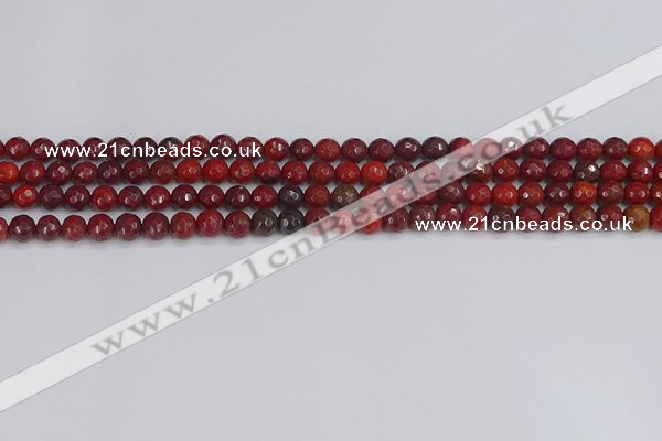 CAJ758 15.5 inches 4mm faceted round apple jasper beads