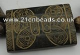 CAL18 14.5 inches 40*60mm carved rectangle agalmatolite beads