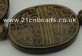 CAL22 14.5 inches 47*60mm carved oval agalmatolite beads