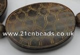 CAL24 14.5 inches 50*60mm carved turtleback agalmatolite beads
