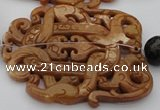 CAL32 14.5 inches 60*70mm carved agalmatolite beads