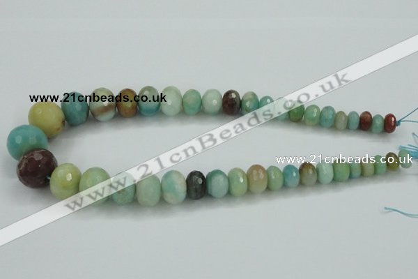 CAM107 15.5 inches multi-size faceted rondelle amazonite gemstone beads