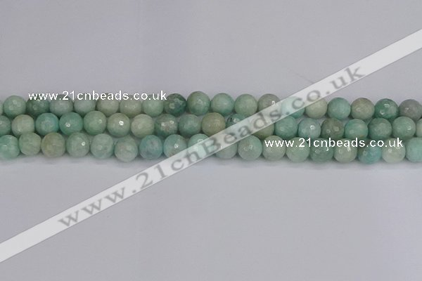 CAM1452 15.5 inches 8mm faceted round amazonite gemstone beads