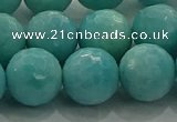 CAM1525 15.5 inches 14mm faceted round natural peru amazonite beads
