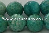 CAM1586 15.5 inches 16mm faceted round Russian amazonite beads