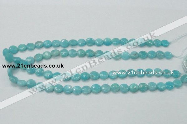 CAM301 15.5 inches 10mm flat round natural peru amazonite beads